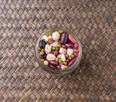 Mix Beans In Mason Jar — Stock Photo