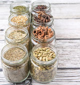 Herbs and Spices In Mason Jars — Stock Photo