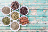 Herbs and  And Spices in White Bowl — Stock Photo