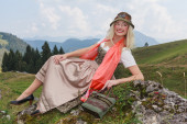Traditional Dirndl Fashion Portrait — Stock Photo