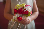 Flower Girl Holding Flowers — Stock Photo