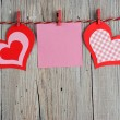 Paper hearts and blank note — Stock Photo #63457117