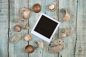 Sea shells and instant photo frame — Stock Photo