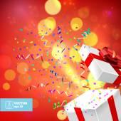 Open Gift and Confetti. Christmas Vector — Stock Vector