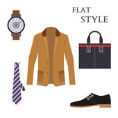 Mens Wear Look Fashion. Flat Style. Vector — ストックベクタ