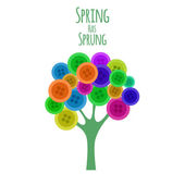 Abctract buttons tree. Spring has sprung. Vector — Stock vektor