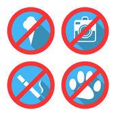 Verbieden Vector ondertekent geen hond of huisdieren, geen consumptie-ijs — Stockvector