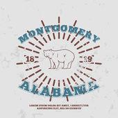 Montgomery, Alabama. grunge on separate layer — Stock Vector
