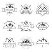 Camping mountain adventure hiking explorer equipment labels set — Stock Vector