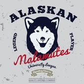 Alaskan malamute club. — Stock Vector