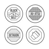 MMA Sport icons set. Thin Line Style. Vector — Stock Vector
