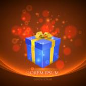 Gift box with magic particles vector background — Stock Vector