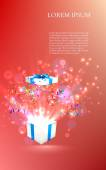 Open gift with fireworks from confetti. vector — Stock Vector