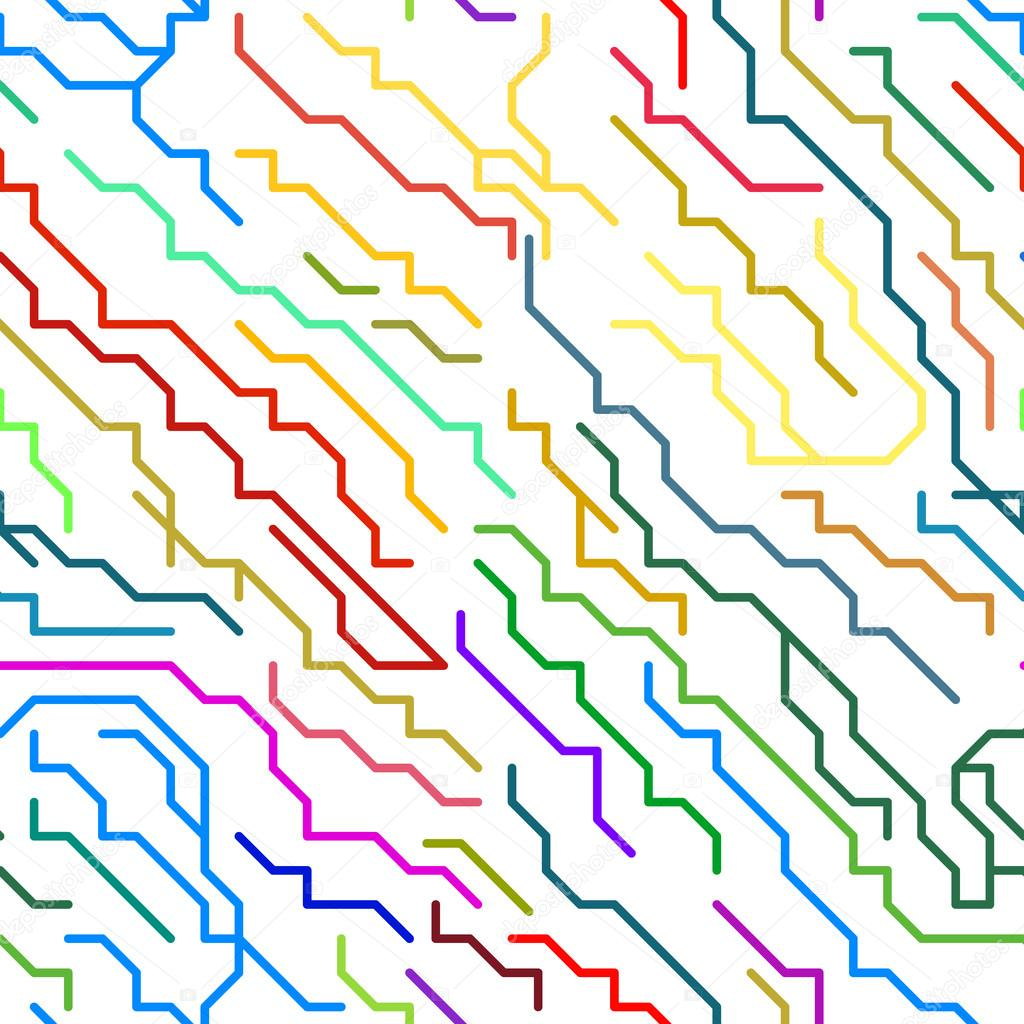 抽象多彩微芯片线无缝模式.矢量图– 图库插图