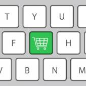 Keyboard with Shopping cart. Vector Illustration — Stock Vector