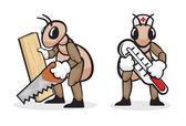 Ant profession carpenter and doctor — Stock Vector