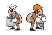 Ant profession cook and builder — Stock Vector