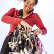 Female climber racking gear. — Stock Photo #69664333