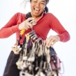 Female climber racking gear. — Stock Photo #69664345