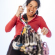 Female climber racking gear. — Stock Photo #69664361
