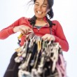 Female climber racking gear. — Stock Photo #69664423
