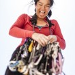 Female climber racking gear. — Stock Photo #69664445