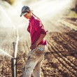 Woman setting irragation sprinklers. — Stock Photo #77238342