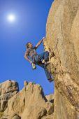 Climber on a steep wall. — Stock Photo
