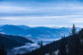 Winter snow covered mountain peaks in Europe. — Stock Photo