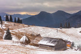 Old farm in the mountains at winter — Stock Photo