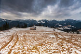 Snowy mountains before storm. — Stock Photo