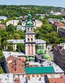 Lviv at summer, view from City Hall. — Stock Photo