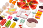 The composition of chewing candies — Stock Photo