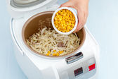 cooking steamed vegetables in multicooker  — Stock Photo