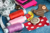 Sewing background with color threads — Fotografia Stock