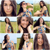 Collage of portrait of young woman — Stock Photo