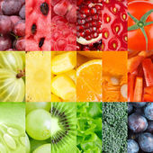 Healthy fresh fruits and vegetables backgrounds — Stock Photo