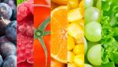 Healthy fresh fruits and vegetables background — Stock Photo