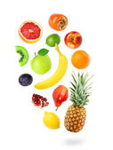 Falling fresh color fruits — Stockfoto