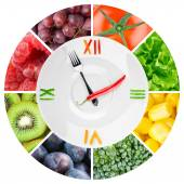 Food clock with vegetables and fruits — Stock Photo
