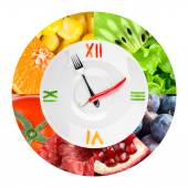 Food clock with fruits and vegetables — Stock Photo