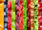 Collage with different fruits and berries — Stock Photo