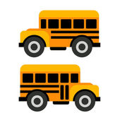 School Bus Icons in Flat Vector Style — Stock Vector