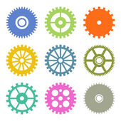 Gear Icons Set in Flat Design colors. Vector — Stock Vector