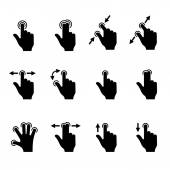 Gesture Icons Set for Mobile Touch Devices. Vector — Stock Vector