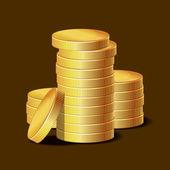 Stacks of Golden Coins on Dark Background. Vector — Stock Vector
