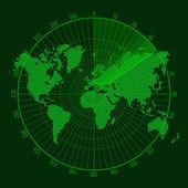 Green Radar Screen with Map. Vector — Stock Vector