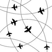 Airplanes Background with Trajectory. Vector — Stock Vector