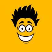 Smiling Cartoon Face on Orange Background. Vector — Stock Vector