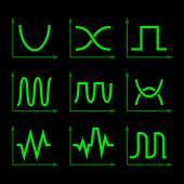 Oscilloscope Signal Set. Vector — Stock Vector